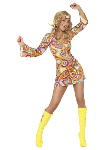 60s Bright Paisley Hippie Costume
