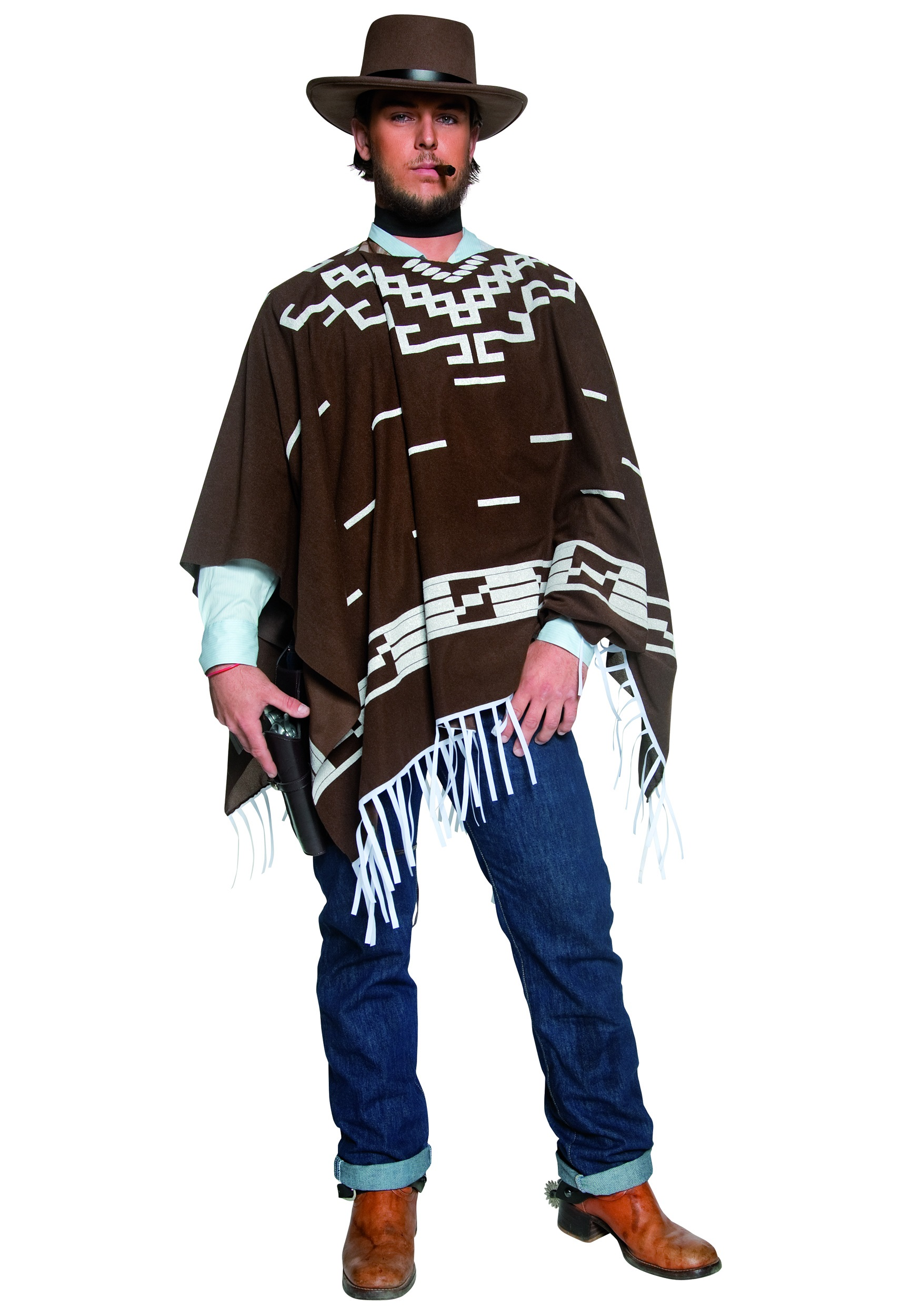 Western Eastwood Costumes Gunman Blondie Costume Clint Poncho Cqr1OC