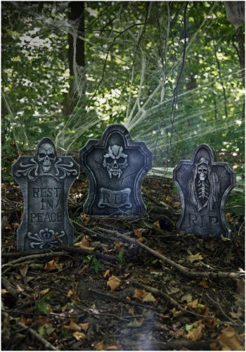 three piece graveyard kit tombstone lawn outdoor decorations