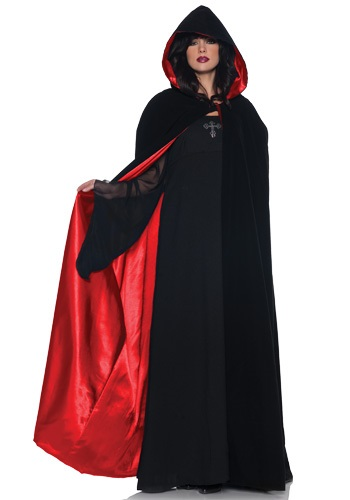 Mysterious Velvet Cape w/ Red Satin Lining