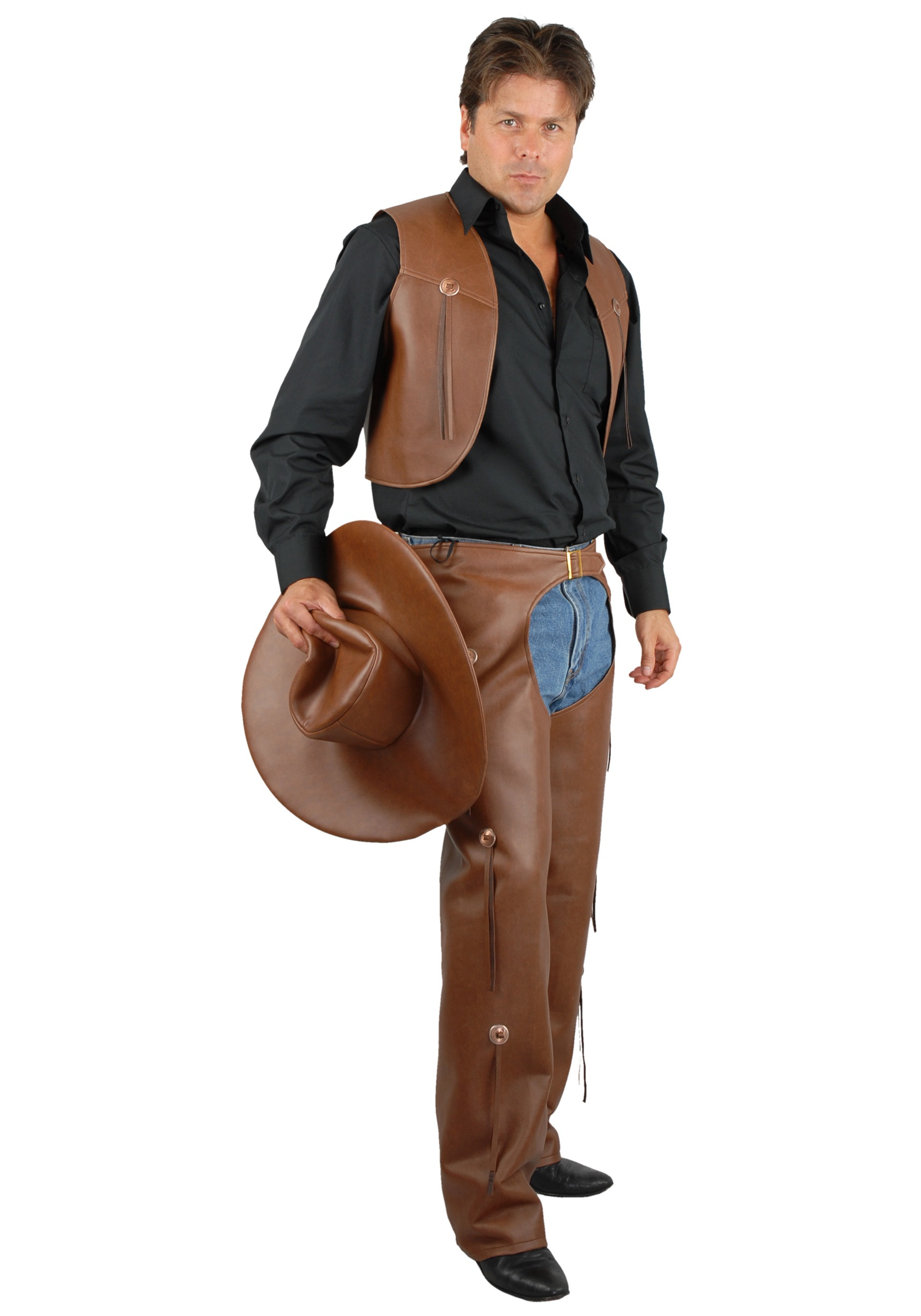 mens brown vest and chaps cowboy costumes and accessories
