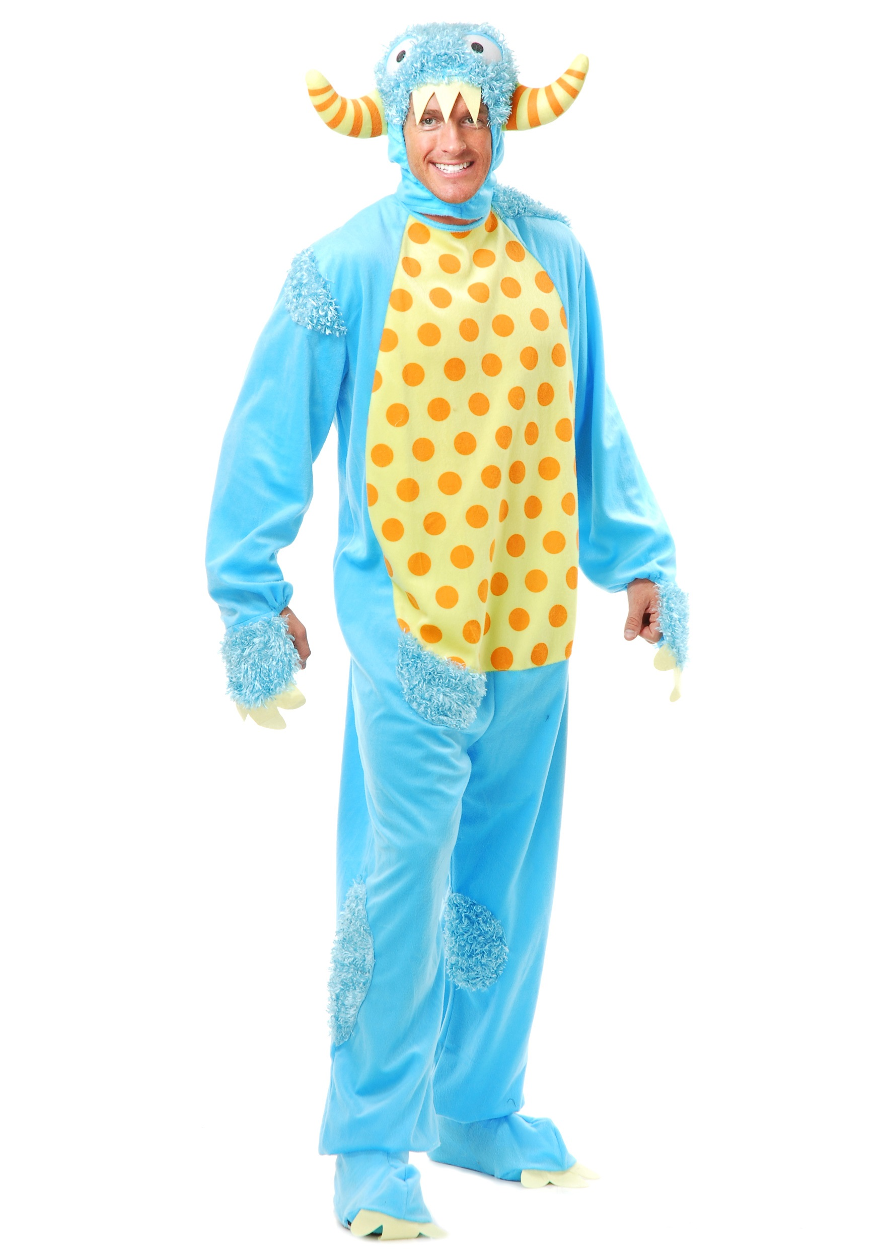 mens blue monster costume - furry monster jumpsuits