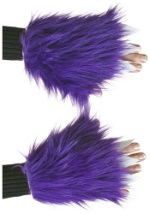 Womens Violet Fuzzy Hand Covers