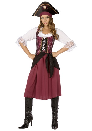 Plus Size Ladies Burgundy Pirate Costume