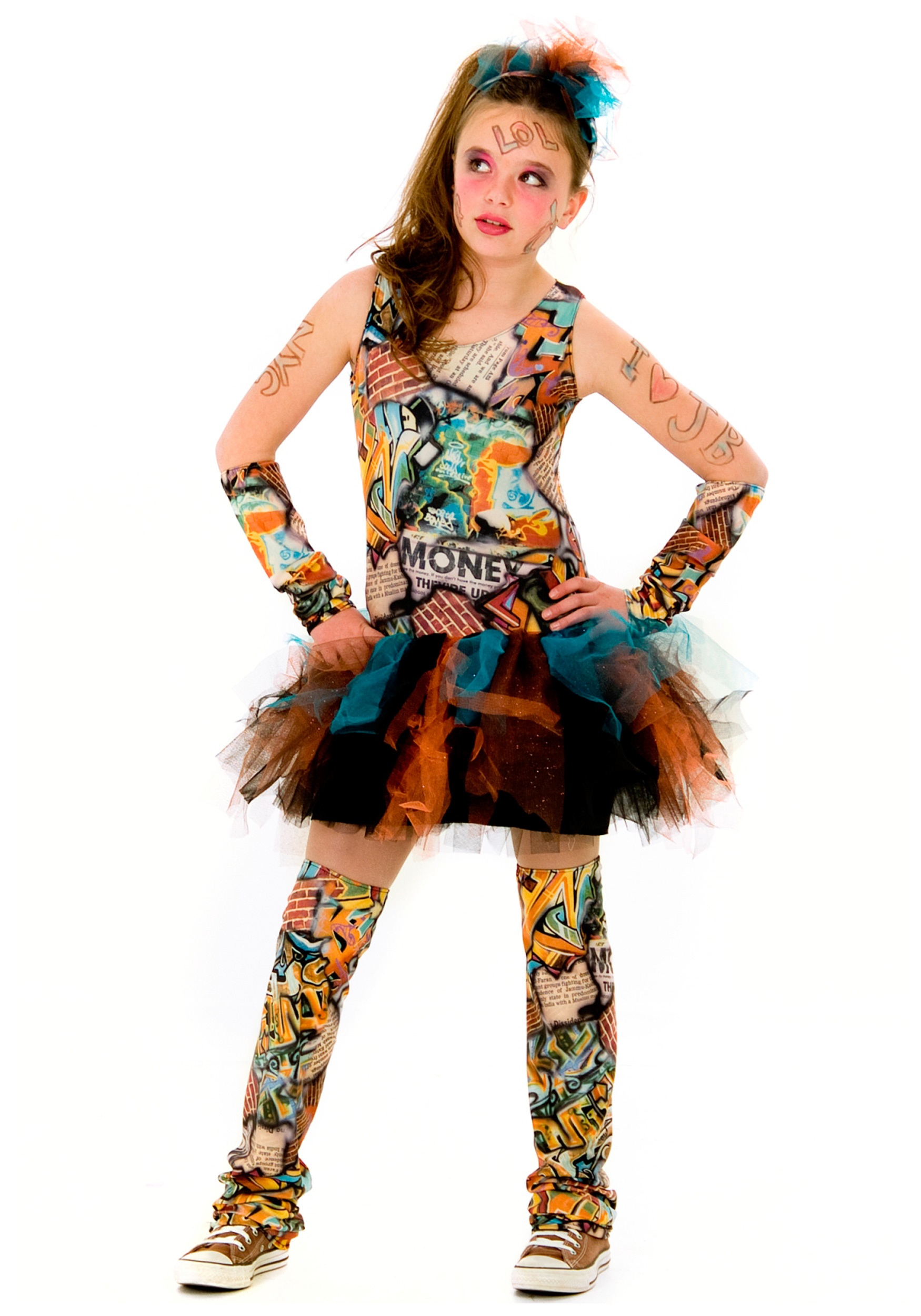 Tween Graffiti Girl Costume - Unique and Colorful Teen Costumes