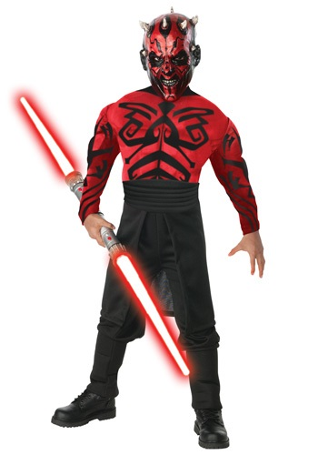 Boys Deluxe Muscular Chest Darth Maul Costume