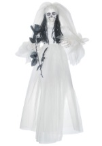 Ghost Bride Holding Black Bouquet