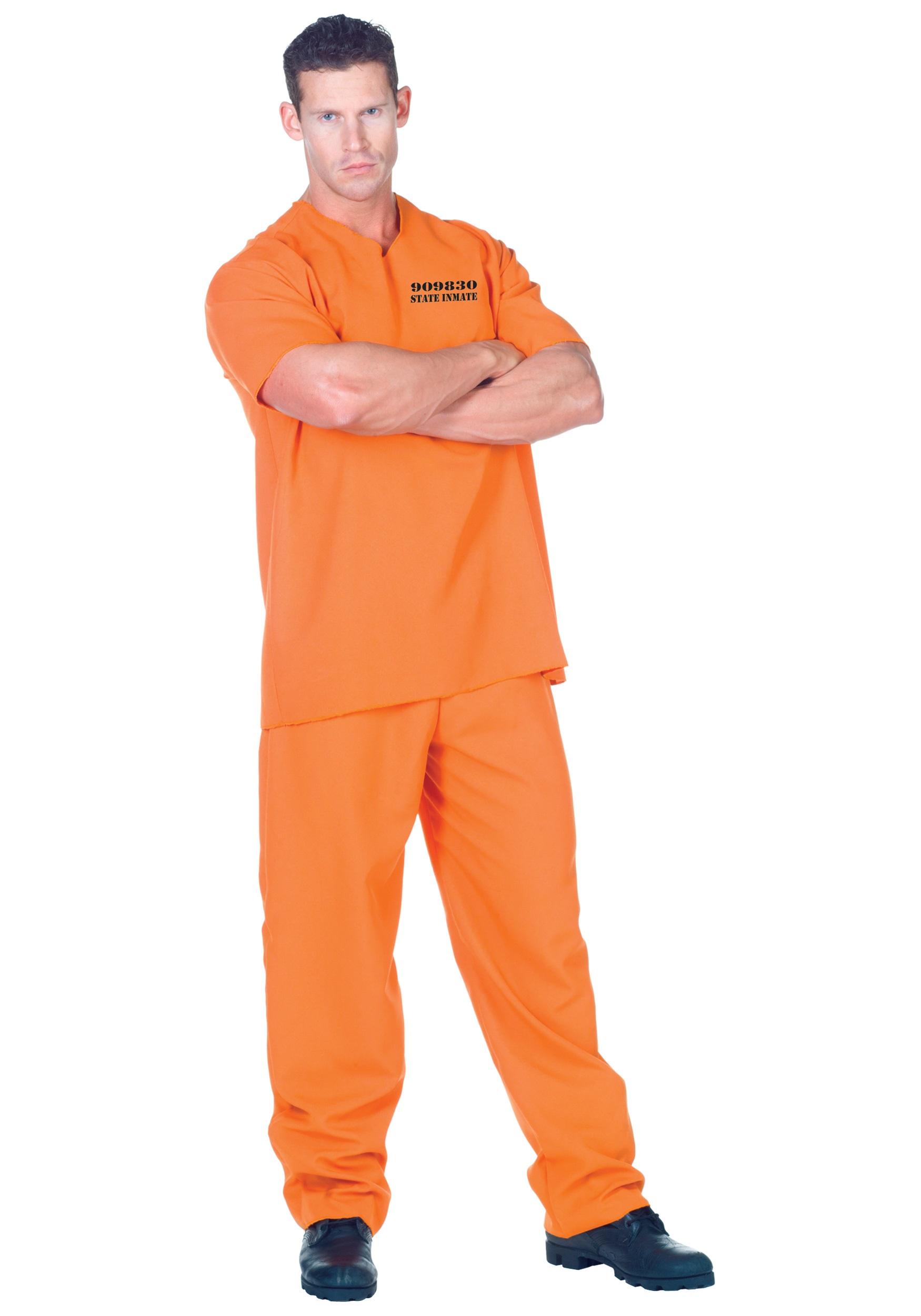 Orange Jumpsuit Inmate Costume - Adult Prisoner Uniform Costume Ideas