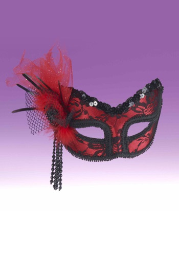 Laced Crimson Masquerade Mask
