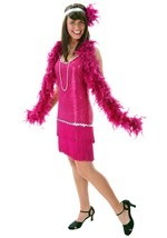 Plus Size Fuchsia and Fringe Flapper