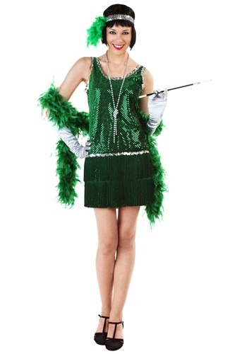 Green Sequin Flapper Costume Plus