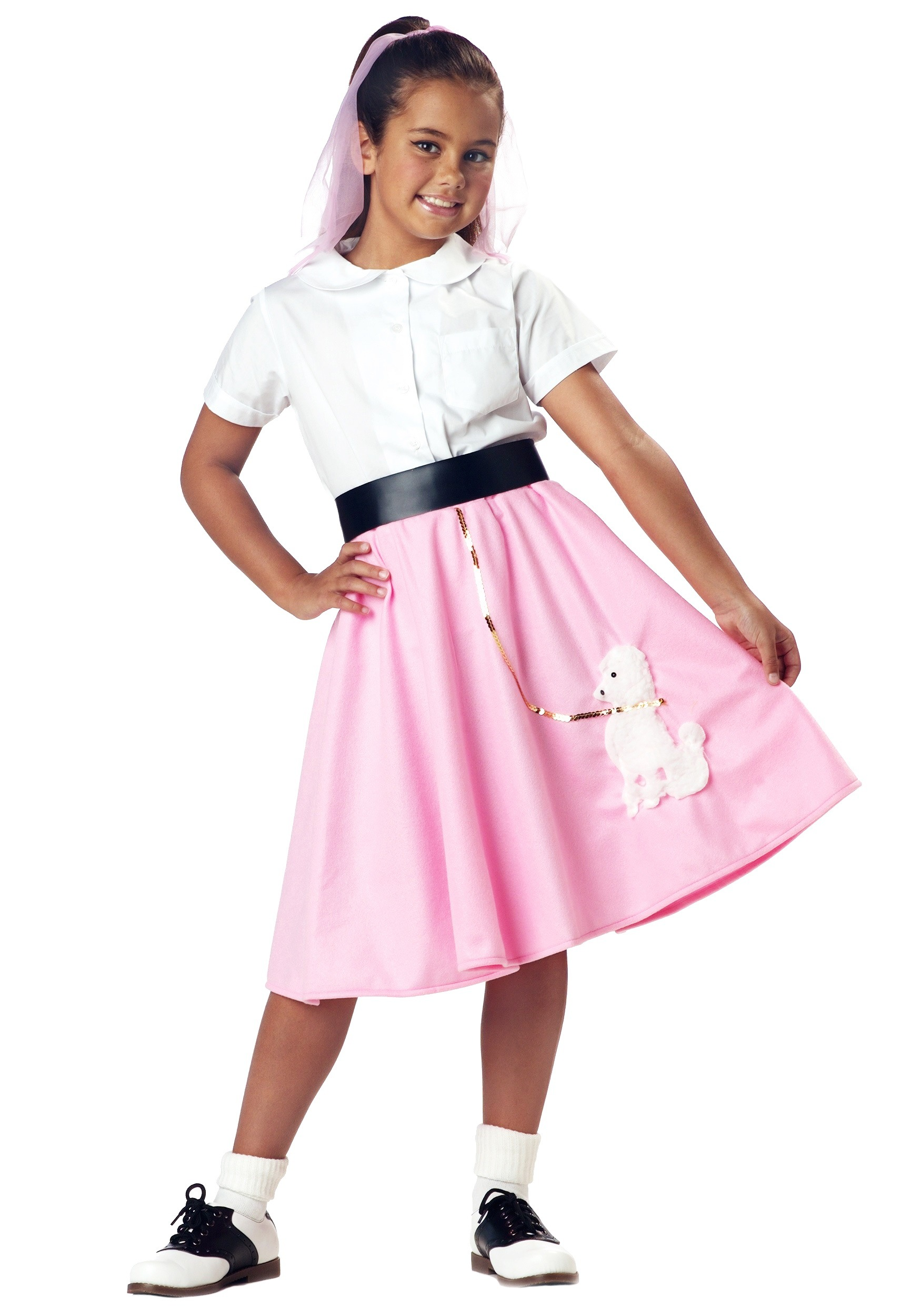Girls Pink Poodle Skirt  sc 1 st  Halloween Costume & Girls Pink Poodle Skirt - Kids 1950s Poodle Skirt Halloween Costumes
