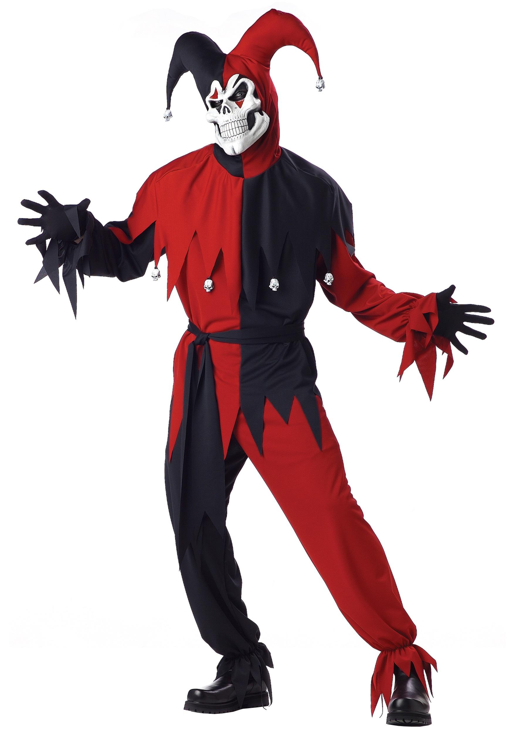 Scary Clown Halloween Costume.Evil Jester Costume
