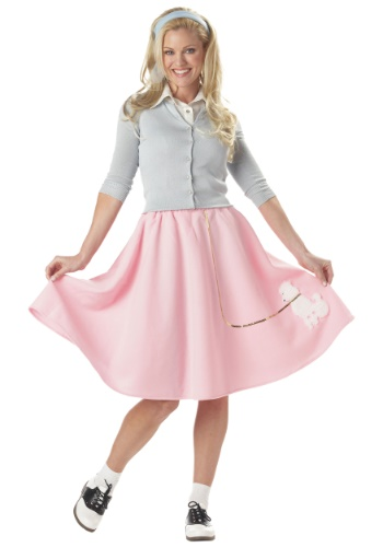 Ladies Pink Poodle Skirt