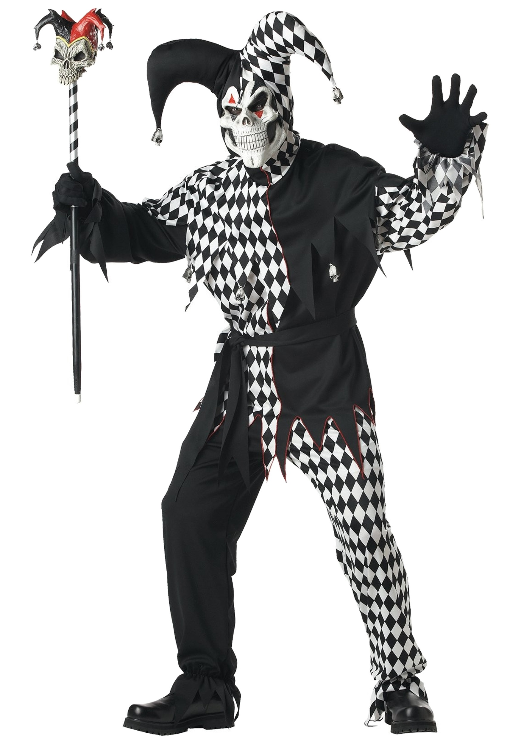 Mens Scary Jester Costume - Adult Wicked Clown Costumes