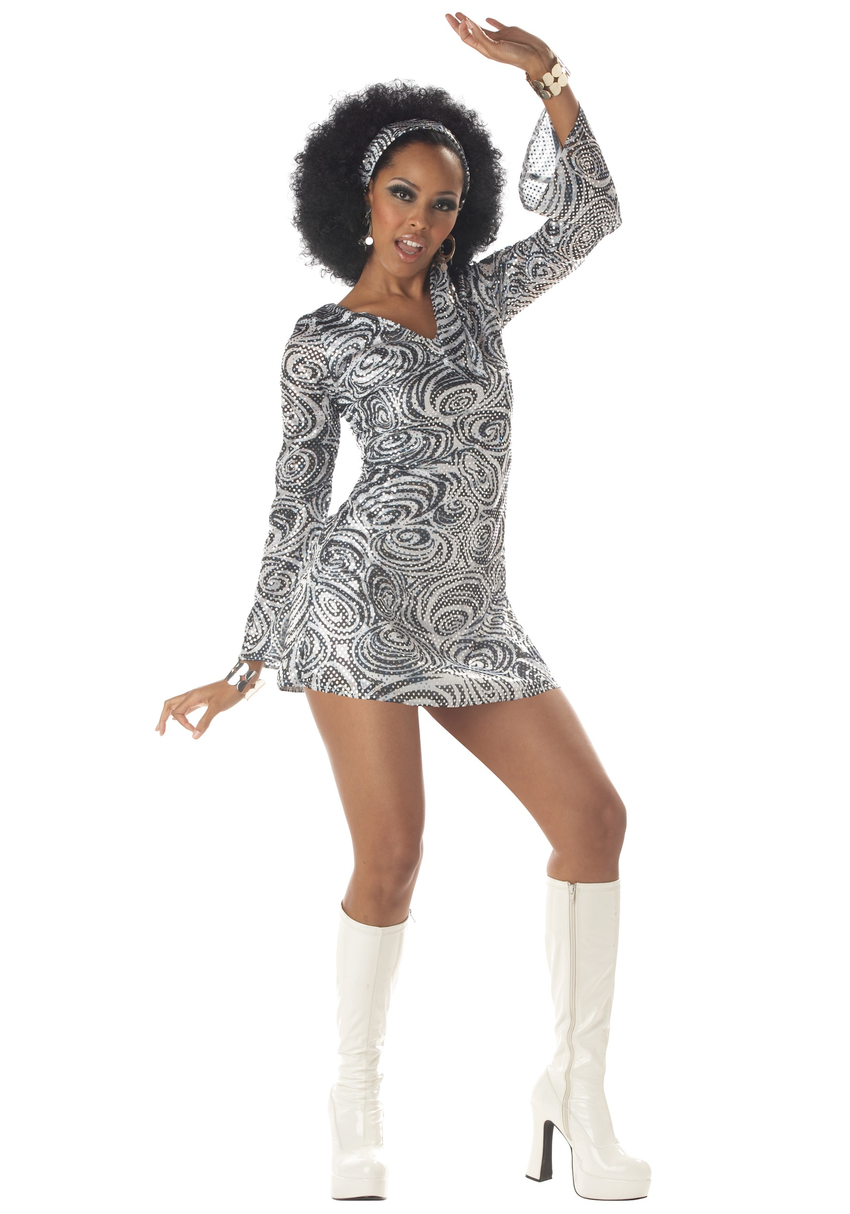 Sexy Adult Disco Diva Dress Womens Sexy 70s Disco Costumes