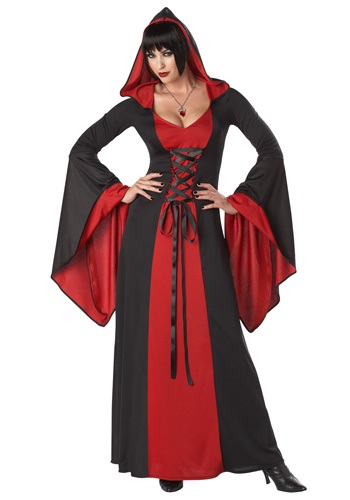 Womens Black and Red Hooded Robe