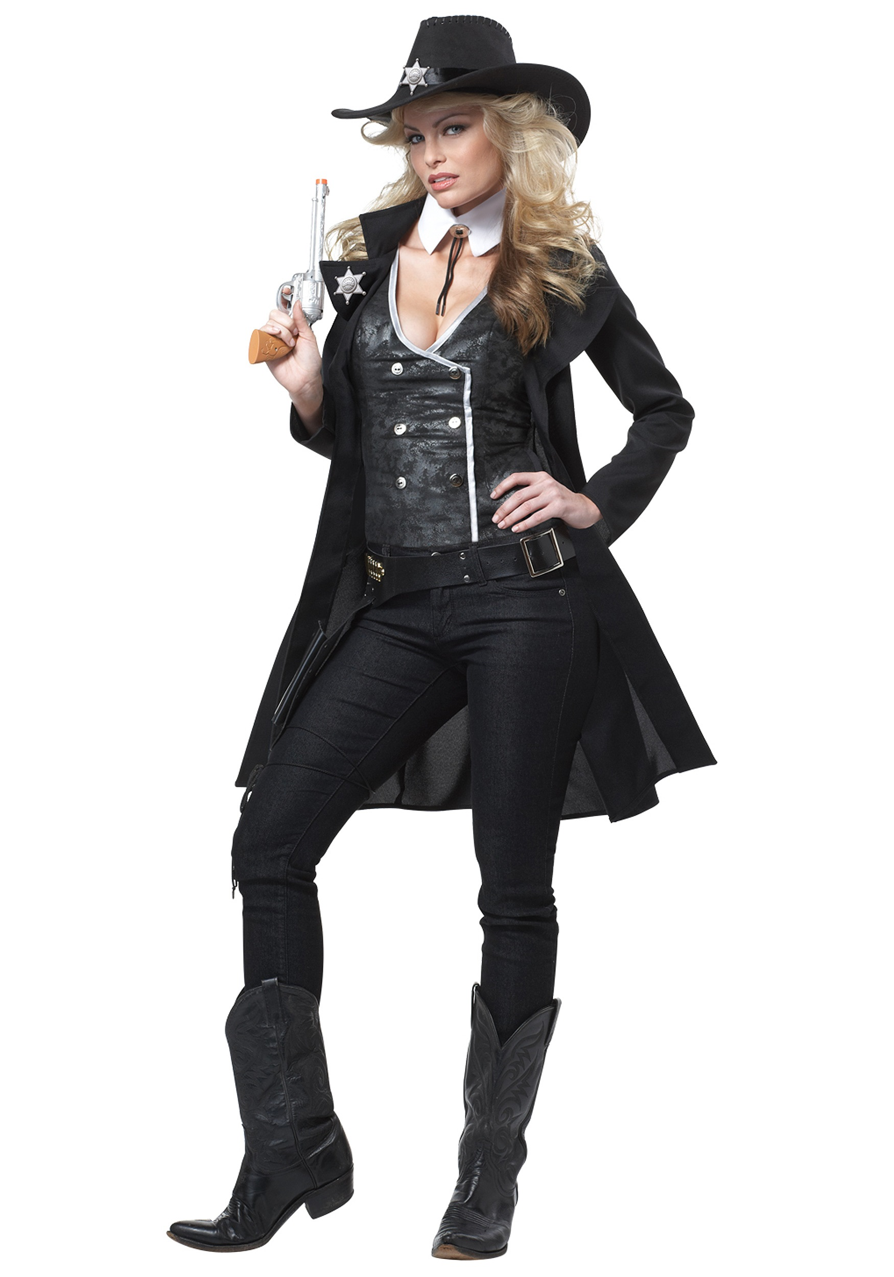 mysterious dark cowgirl costume - sexy cowgirl sheriff costumes