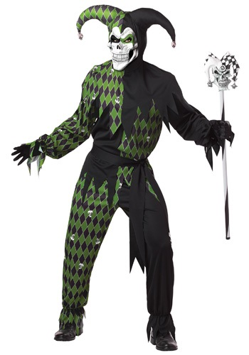 Mens Scary Skeleton Jester Costume