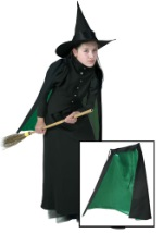 Black and Green Witch Girls Cape