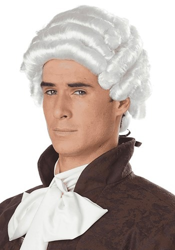 Mens White Colonial Wig