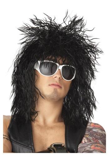 Black Hair Band Dude Wig Mens 70s 80s Halloween Costume