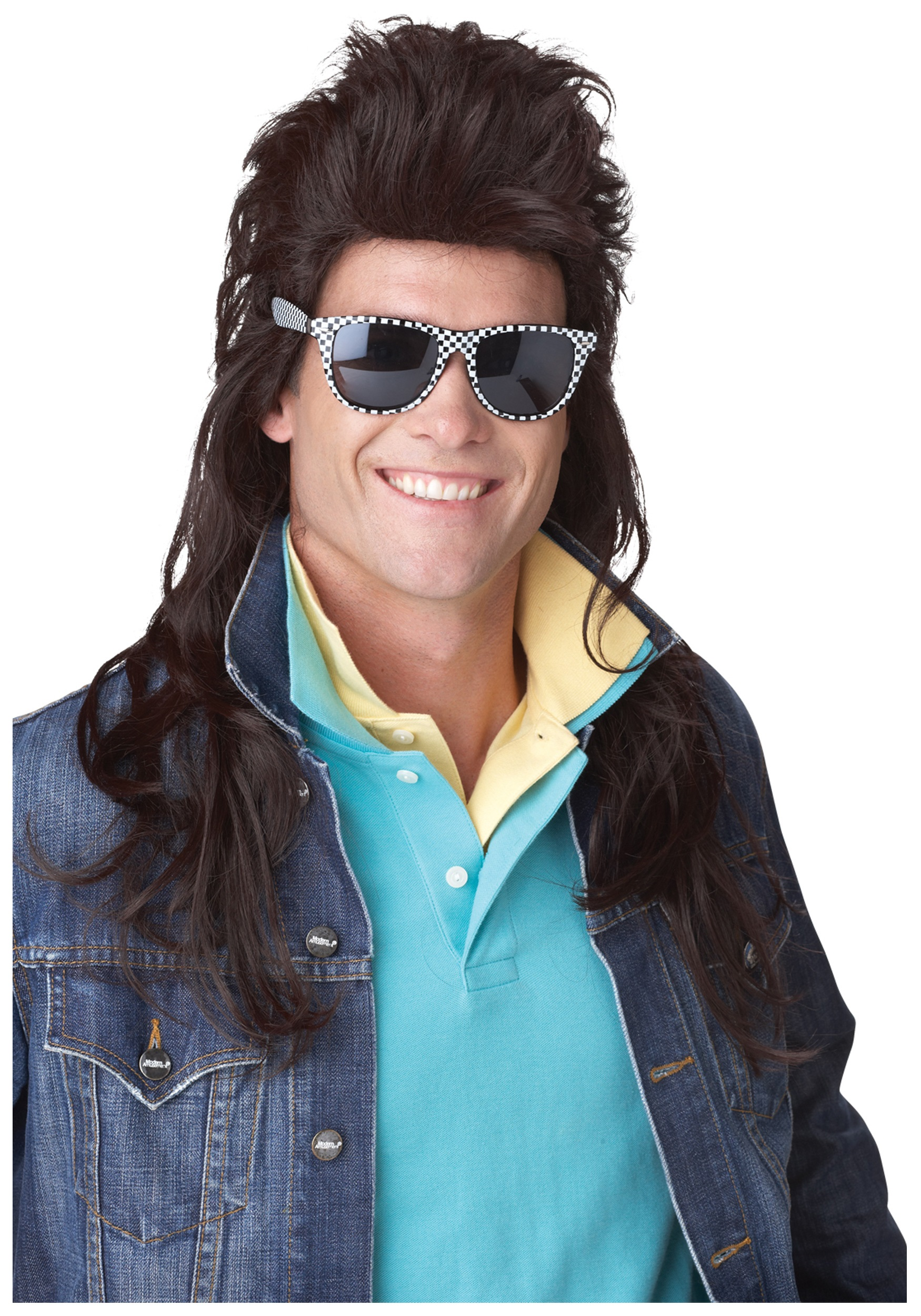80s Brown Rock Mullet Wig  sc 1 st  Halloween Costume : black wig halloween costume ideas  - Germanpascual.Com