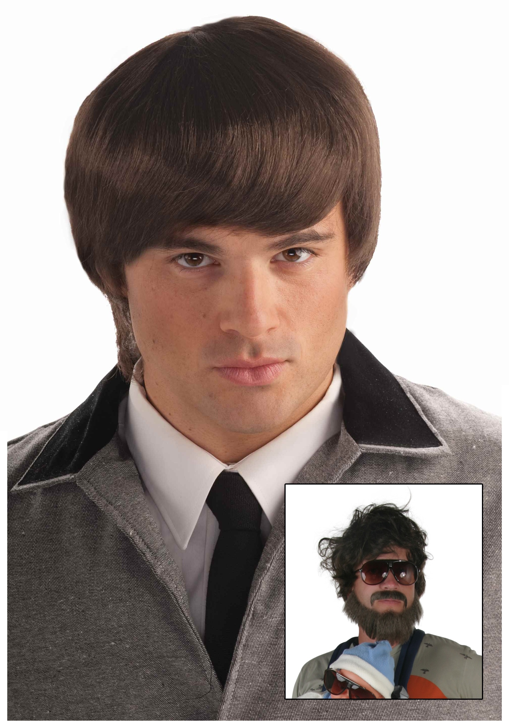 Brown Mod Wig - Retro 1960s Mens Beatles Costume Wig f27bfd1bffc8