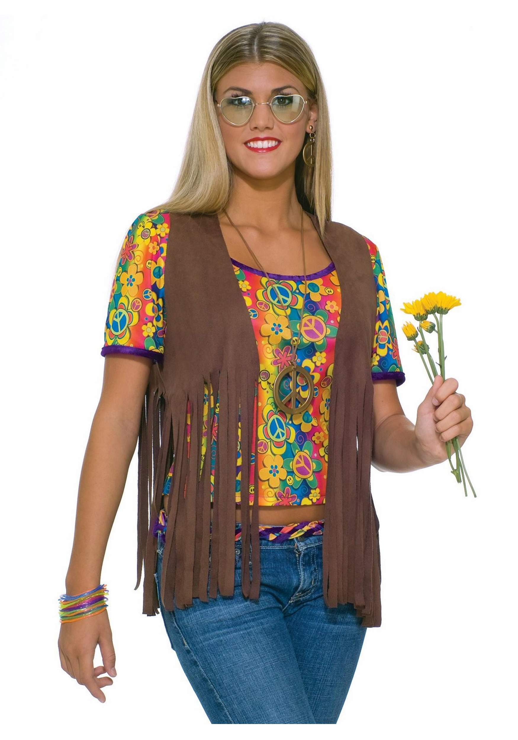 Hippie Vest  sc 1 st  Halloween Costume & Hippie Vest - Womens Fringe Leather Hippie Vest