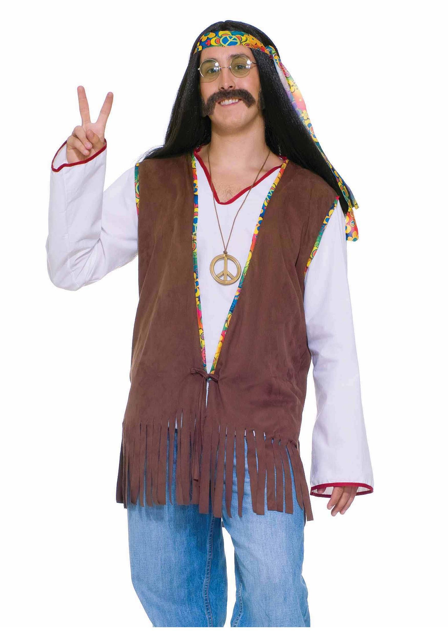 Menu0027s Groovy Hippie Vest  sc 1 st  Halloween Costume & Menu0027s Hippie Vest - Adult Halloween Costume Hippie Vests
