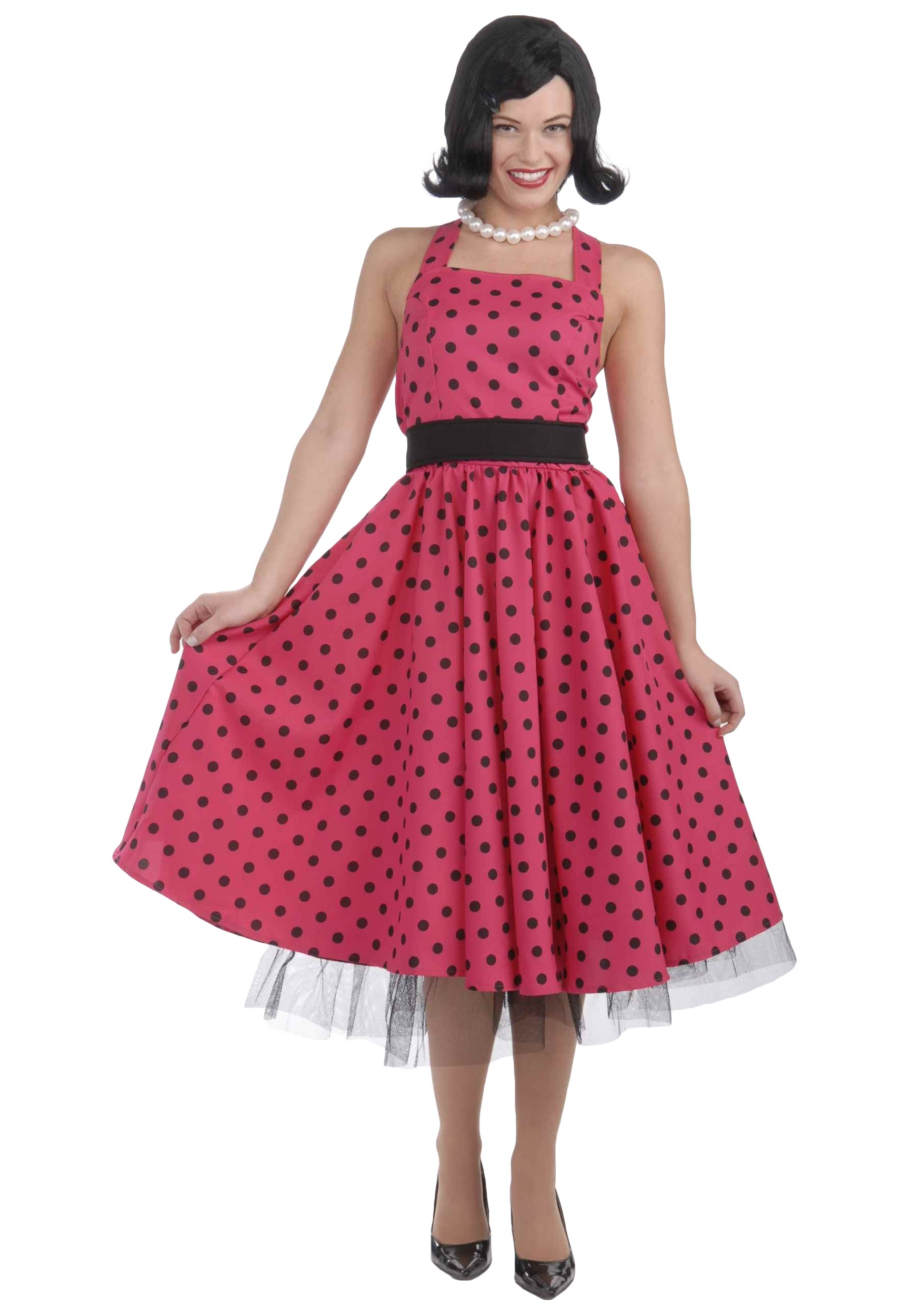 1950 style formal black and pink dresses