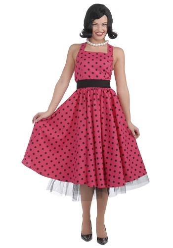50s Pink Polka Dot Dress