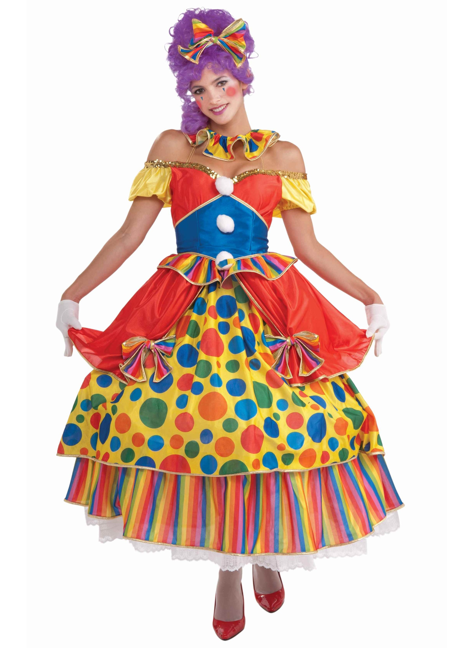 Be the cutest clown around in this women's hoop-dress clown costume!