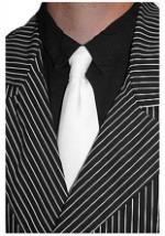 Solid White Gangster Tie