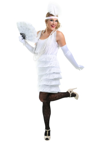 White Fringe Flapper Costume