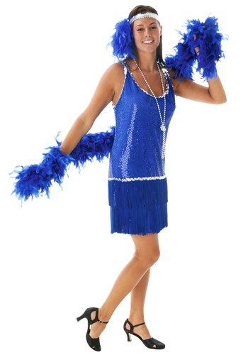 1920s Blue Sequin Flapper Dress