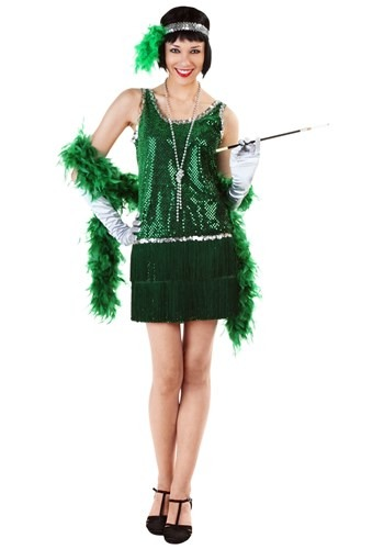 Exclusive Green Sequin Flapper Dress
