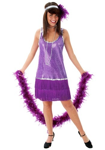 Purple Sequin Flapper Dress