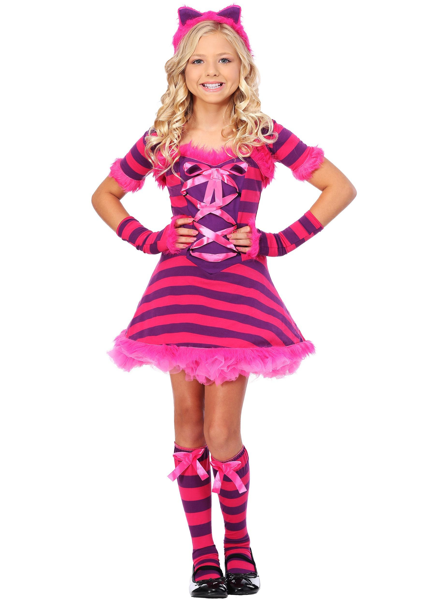Girls Sassy Wonderland Cat Costume  sc 1 st  Halloween Costume & Girls Sassy Wonderland Cat Costume - Kids Cheshire Cat Costumes
