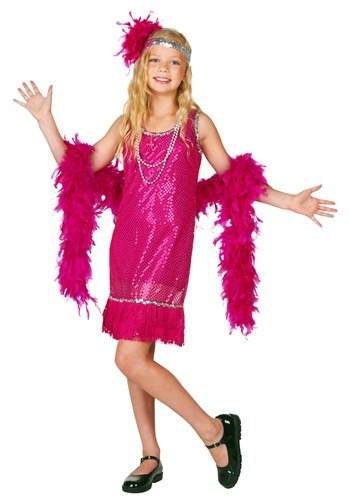 Girls Fuchsia Sequin Flapper Costume