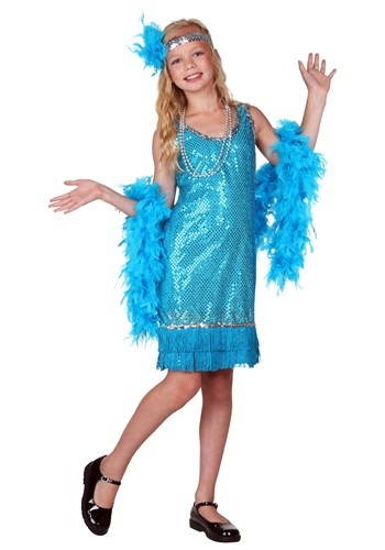 Child Turquoise Sequin Flapper Costume