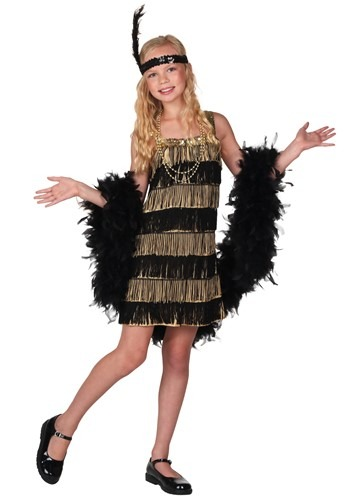 Children's Gold and Black Flapper Costume