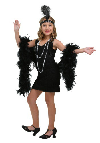 Kids Black Fringe Flapper Costume