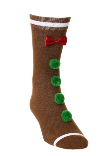 3D Novelty Gingerbread Man Crew Socks