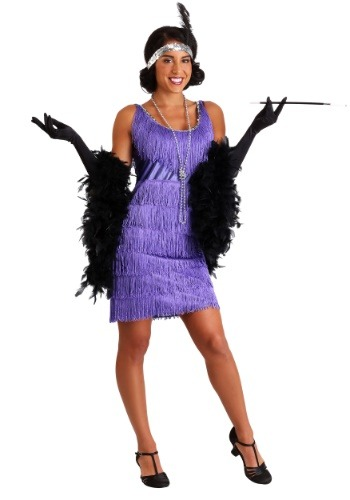 Plus Size Purple Fringe Flapper Dress