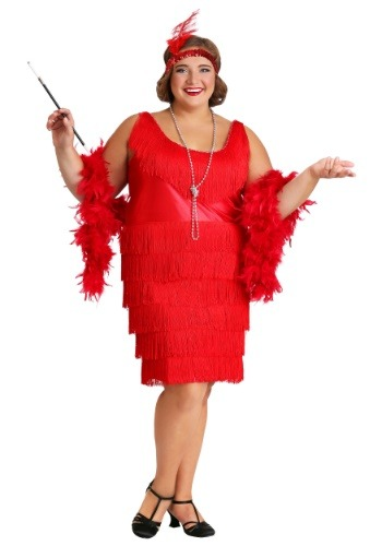 Plus Size Red Flapper Dress Adult Plus Size 20s Flapper Costumes