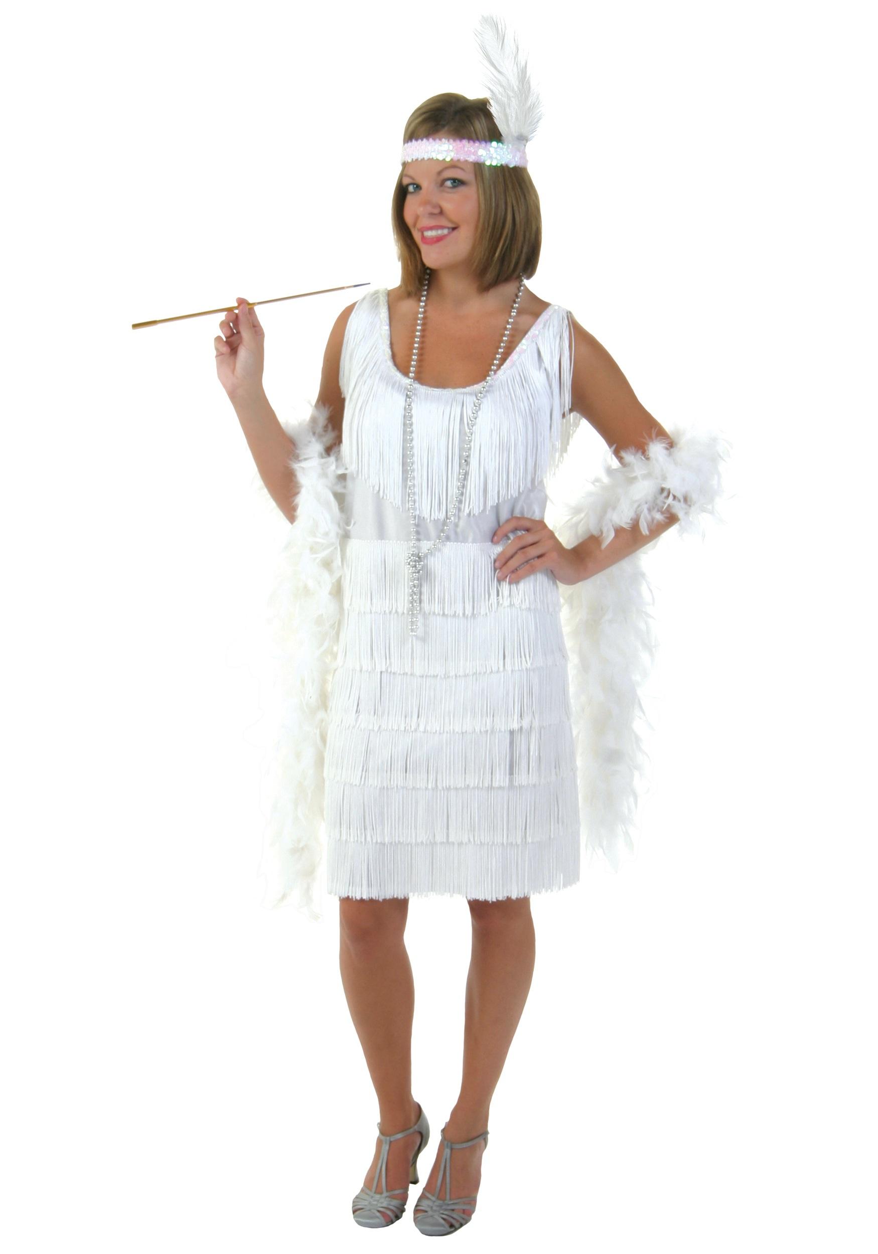 White Plus Size Flapper Dress