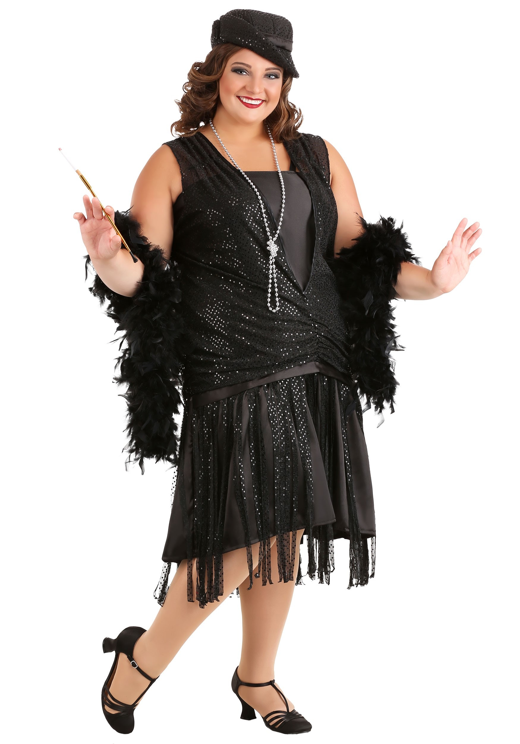 Swanky Black Flapper Costume Plus Womens 20s Flapper Girl Costumes