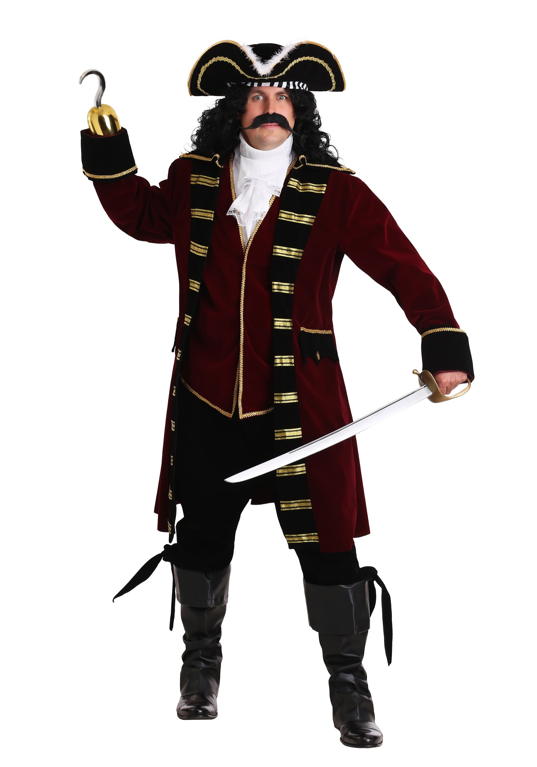 Captain Hook Deluxe Plus Costume - Exclusive Mens Plus Size Pirate 3765fe3cba38