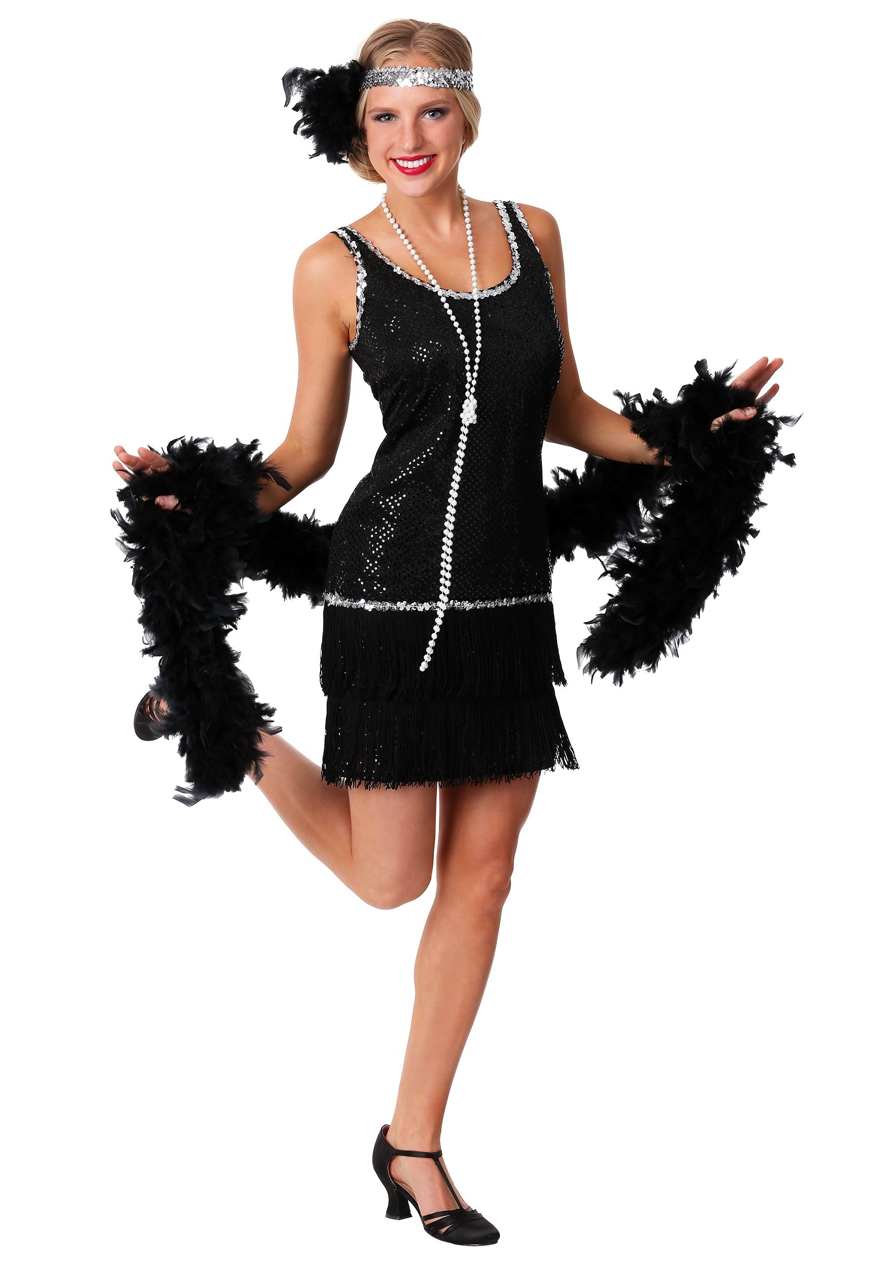 Plus Size Black Sequin Flapper Dress - Plus Size 20s Flapper Costumes